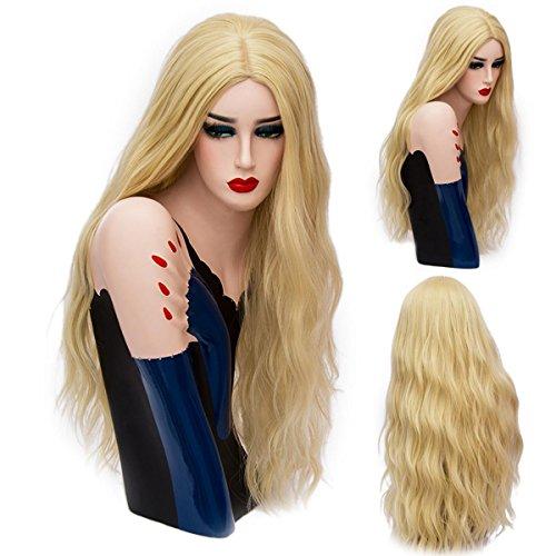 SHKH Frauen schöne gewellte lockige lange Haar Perücken Cosplay Halloween Weihnachten Parteien Fancy Dress Multi-Color optional , (Kostüme Fancy Dress Billig 80s)