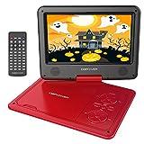 9.5'' Tragbarer DVD-Player mit Wiederaufladbarer Batterie, Schwenkbaren Bildschirm, Unterstützt SD-Karte und USB, mit Spiele-Joystick, Auto-Ladegerät-Rot