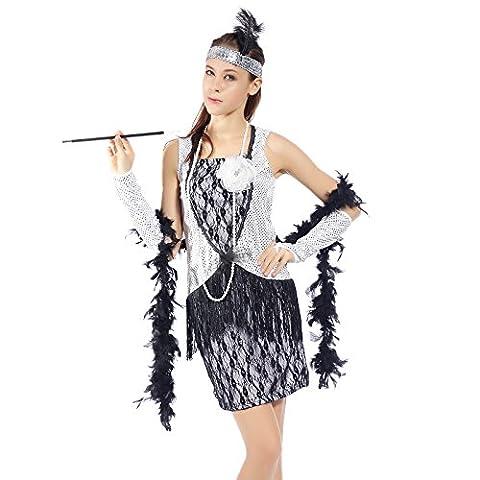 Surepromise Robe de Deguisement a Franges en Paillettes Argente 1920s 1930s pour Femme