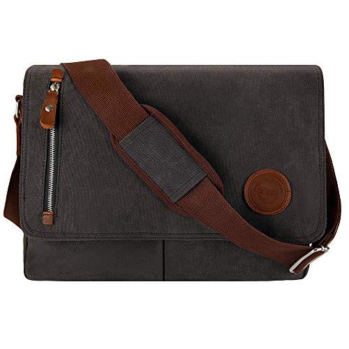 Schwarze Messenger Bag (Umhängetasche Herren 15.6 Zoll Arbeitstaschen für Herren Laptoptasche 15.6 Zoll Messenger Bag Herren für A4 Ordner Arbeit Uni mit Laptopfach (Schwarz))