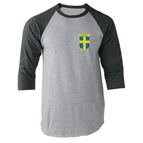 c8760364d Pop Threads Sweden Soccer Retro National Team Gray 2XL Raglan Jersey T-Shirt