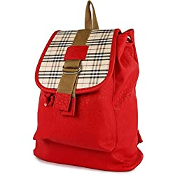 DAMDAM Casual Lightweight Canvas Backpacks Cute Dot Bookbag Shoulder Bag School Backpack for girls (Red)
