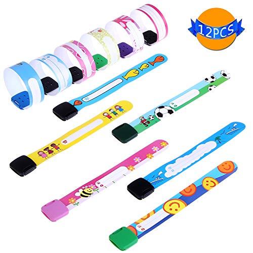 LOCOLO Kinder Sicherheitsarmband, wasserdicht und wiederverwendbar, Sicherheits-ID Band für Kinder, Design: verstellbar, schön, verschiedene Styles 12 Stück -