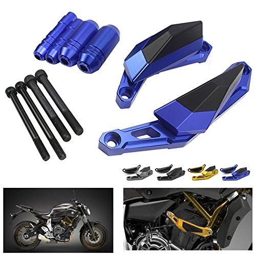 XX eCommerce Moto Protecteur de curseur de fourche de roue CNC avant et arri/ère pour 2014-2016 Yamaha MT FZ 07 FZ-07 2015 Bleu