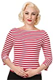 Banned - Dancing Days 3/4-Arm Rockabilly Damen T-Shirt - Modern Love Rot-Weiß gestreift 4XL