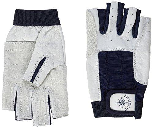 BluePort Erwachsene (Unisex) Segelhandschuhe aus Leder-5 Finger frei M, Weiß, M