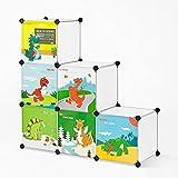 SoBuy® DIY Children Storage Unit, Interlocking Cube Storage Organiser Cabinet, 6 Cubes with Doors, FSS11 ()