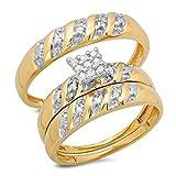 Juego de tres anillos para boda de oro amarillo de...