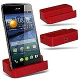 ( Red ) Huawei Ascend Y540 Hülle Abdeckung Cover Case schutzhülle Tasche Custom Made Micro-USB-Desktop Charging Dock Mount Stand von ONX3®