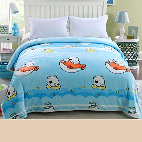 Blue Animal Picture Hiver Dortoir Étudiants Blanket Flanelle Thicken Quilts Thermal Sheets Rollsnownow (taille : 200 * 230cm)
