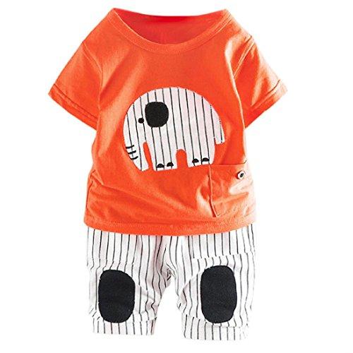 Kleidung Sets Kleinkind Kinder, DoraMe Baby Jungen Kurzarm Rundhals Cartoon Elefant T-shirt + Streifen Hosen 2018 Neue Mode Sommer Outfits für 6-24 Monate (Orange, 12 Monate) (Orange Der Streifen Strumpfhosen)