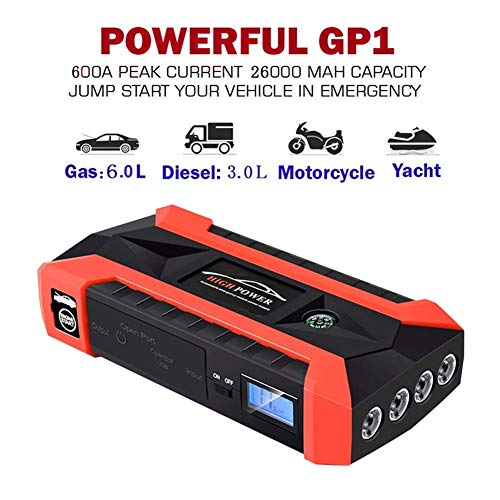Auto-Sprungs-Starter 1000A Spitzenstrom mit aufgerüsteten Sprungleitungen als 20000mAh Batterie Packen Sie mit Dual 4USB Port nd LED-Taschenlampe