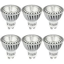 SHINE HAI Bombillas LED Gu10 Lámparas Halógenas Equivalentes a 50W, Blanco frío 5000K, 480LM, 6W, con Casquillo de aluminio, Iluminación LED 230V,Spot luz, No regulable 6 Unidades