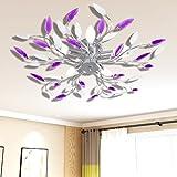 FESTNIGHT Lampada da Soffitto Bianca e Viola con Cristalli Acrilici 5 E14 (White And Purple)