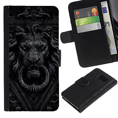 For Samsung Galaxy S6 SM-G920,S-type® Doorbell Lion Grey Black White Doorknob - Dessin PU cuir Wallet style Skin Cas Case Coque étui de protection