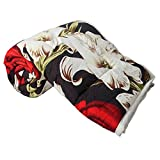 #6: Clasiko Double Bed Comforter Black Base Red White Orchids, Fabric- Micro Cotton, Size - 84x84 inches, Color Fastness Guarantee, 250 GSM