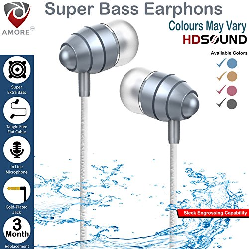 Amore™ Stereo Earphone Hands-Free 3.5mm Jack In-Ear Super Extra Bass Headphone Headset With Mic Compatible with Samsung, Motorola, Sony, Oneplus, HTC, Lenovo, Nokia, Asus, Lg,Oppo,Vivo, Coolpad, Xiaomi, Micromax and All Mobiles (Colours May Vary)  available at amazon for Rs.299