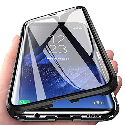 Eabhulie Galaxy S8 Plus Hülle, Vollbildabdeckung Gehärtetem Glas mit Magnetischer Adsorptionskasten Metall Rahmen 360 Grad Komplett Schutzhülle für Samsung Galaxy S8 Plus 6.2-Zoll Schwarz
