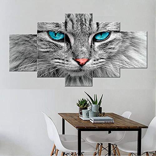 ne Wand Leinwand 5 Panel Schwarz Weiß Tier Blue Eye Cat Gedruckt Bild Modulare Kunst Für Wohnzimmer Dekoration-30X40/60/80Cm,With Frame ()