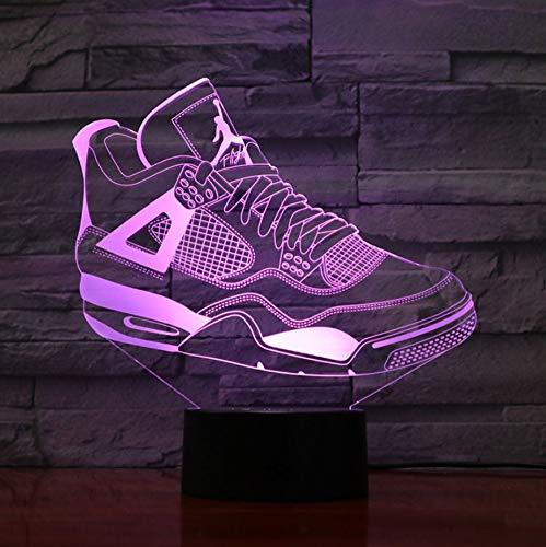 3D Nachtlicht,3D Illusion Lampe,7 Farben Ändern Touch Switch Nachtlicht,Das Beste Geschenk Für Kinder,Optisches 3D-Nachtlicht,Tischlampe, Basketballschuhe