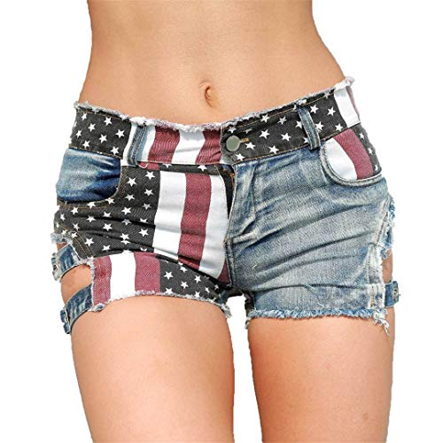 Damen Hohe Taille Loch Jeans Shorts Amerikanische Flagge Gedruckt Daisy Duke Ripped Denim Shorts Blue M -