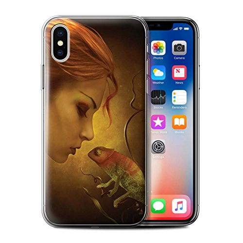 Officiel Elena Dudina Coque / Etui Gel TPU pour Apple iPhone X/10 / Écailles Vertes Design / Dragon Reptile Collection Cameleon