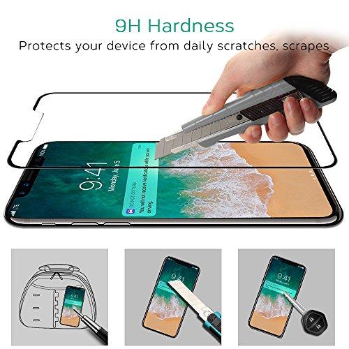Bovon iPhone X Panzerglas, Schutzfolie [3D Vollständige Abdeckung] [9H Härte] [Ultra Clear], Anti-Kratzer, Blasen, Tempered Displayschutzfolie für iphone X [2017](Clear) Test