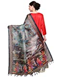 MRINALIKA FASHION Women's Cotton Silk Digital Print Dupatta (Grey, Free Size)