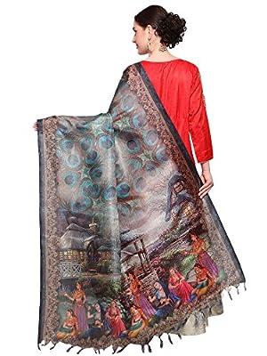 MRINALIKA FASHION Women's Cotton Silk Digital Print Dupatta (Grey, Free Size)