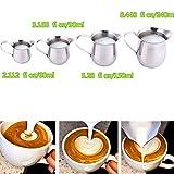 jarra de leche y de cafe Jarras para vaporizar leche Para hacer espuma de leche de acero inoxidable jarra café Latte taza drum-shape pulido jarra taza de leche para cocinar al vapor