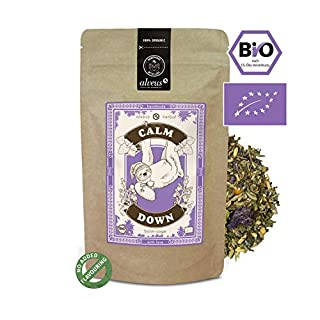 Alveus Herbal Calm Down: No Added flavouring. Ingredients: Balm*, Fennel*, liquorice Root*, Rosemary*, sage*, Lavender*, hop Petals*, Valerian*. *Certified Organic