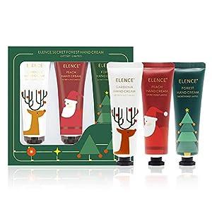 Set de regalo de crema de manos,crema hidratante y protectora para cuerpo y manos, Sin tacto graso, Evita las grietas 3 * 30ml (Navidad) (Rojo)