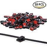 50 Stück Kabelhalter 3M Doppelseitige Klebstoff selbstklebende Kabelschelle, Schreibtisch Kabelhalter, Kabelführung für Zuhause Büro, Auto, PC, TV (black, one size)