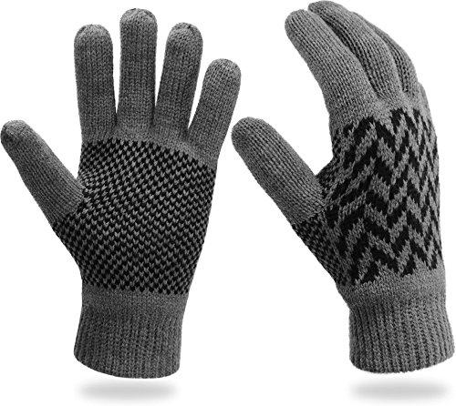 Thermo Strick Handschuhe mit Thinsulate Futter Unisex - Erwachsene mit Norweger Motiv Farbe Grey Spikes Größe L/XL