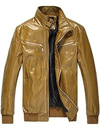 Amurleopard Veste blouson en PU cuir homme slim zippe avec poche manteau cuir