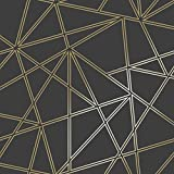 Statement Feature Wallpapers 3D Spitze Geometrische Tapete Dreiecks Metallic Luxus Paladium Holden Decor Black/Gold - 90114