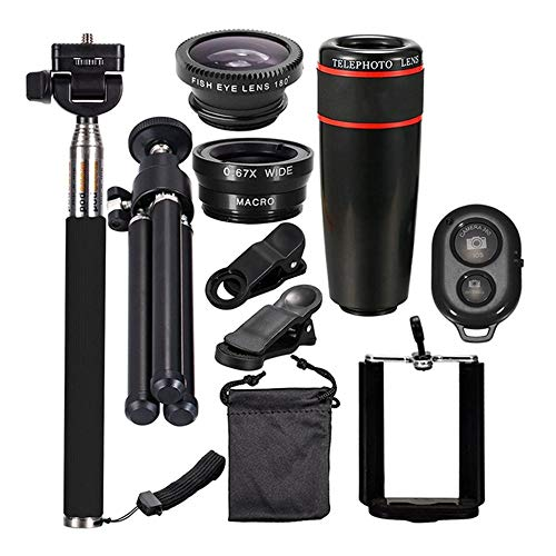 fggfgjg 12X Zoom Telephoto Lens Phone Telescope Clip Lens Kit Bluetooth Selfie Stick(Black)