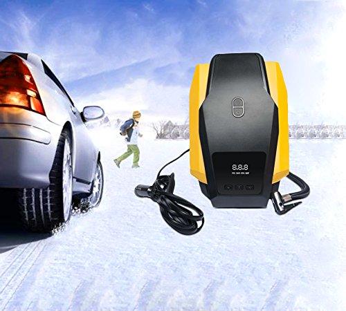 Mini Auto Luftpumpe, Jocund KFZ Kompressor Luftdruck Tragbare Reifenpumpe mit Digitaler Druckmesser, Druckluftkompressoren 3 Ventiladapter mit 12V DC Zigarettenanzünder
