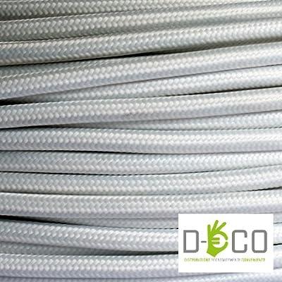 Elektrische Kabel in farbigem Stoff beschichtet. Made in Italy! 5 Meter 3x0, 75 Farbe: Weiß