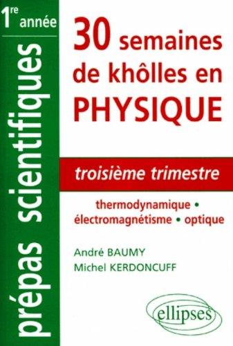 30 semaines de khôlles en physique : troisième trimestre: Thermodynamique - Electromagnétisme - Optique