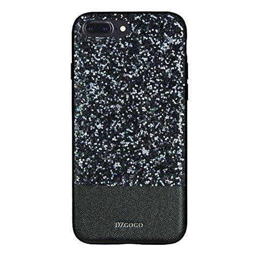 Mobiltelefonhülle - DZGOGO BLING Serie für iPhone 7 Plus PU + TPU + PC Sequins Grind Arenaceous Schutzhülle ( Farbe : Rot ) Schwarz
