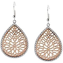 geralin Gioielli–Pendientes plata Rose Oro Ovalado Marrakesch Pendientes Vintage Fashion