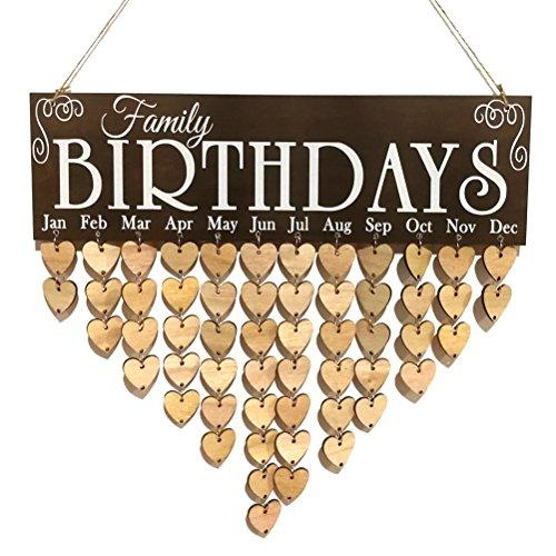 vorcool Familie Geburtstag Board Plaque DIY zum Aufhängen Holz Geburtstag Reminder Kalender mit 50Holz Herzen