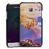 DeinDesign Samsung Galaxy J3 Duos 2016 Lederhülle schwarz Leder Case Leder Handyhülle Anemonenfisch Clownfisch Nemo Fisch