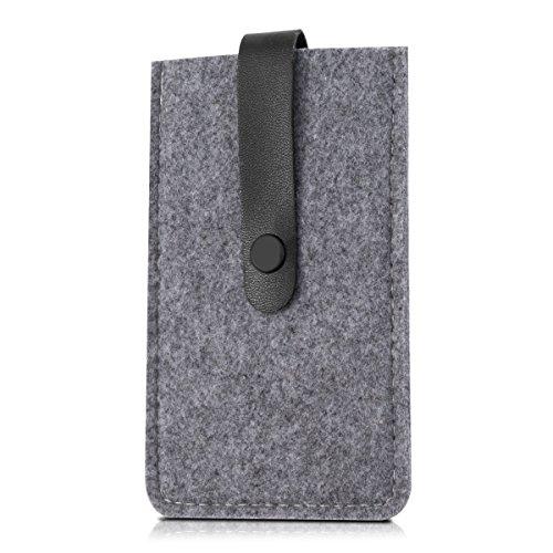 kwmobile Edle Filztasche mit Kunstlederlasche für Smartphones in Grau