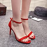 VJGOAL Damen Sandalen, Damen Mode Solide Ankle Block Party Offene Spitze High Heel Sommer Party Schuhe (38 EU, Rot) Test