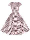 FAIRY COUPLE 1950S Vintage Rockabilly Lunares Cap Mangas Vestido de Baile DRT019(XL,Blanco Pequeña Rojo Puntos)