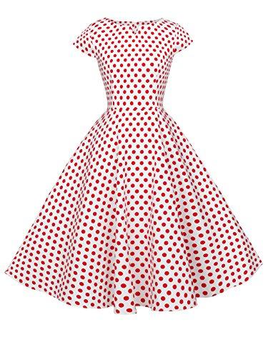 etro Rockabilly Tupfen Kappen Hülsen Abschlussball Kleid DRT019(2XL,Weiße kleine rote Punkte) ()