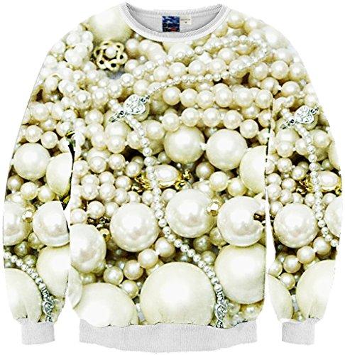 Pizoff Unisex Hip Hop Sweatshirts mit 3D Digital Print 3D Muster Perlenkette Schmuck Y1759-56-M (Pullover Acne)