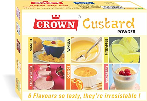 6 Variety (6-in-1) Custard Powder 300g - 150g X Pack Of 2 (25g X 6 Flavors Each :vanilla, Raspberry, Pineapple, Strawberry, Mango, Orange)